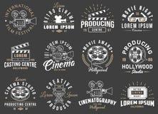 Set of cinema vintage emblems. Vector illustration Stock Photography