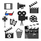 Set of cinema web and mobile icons. Vector. Set of cinema filmmaking and video production vector web and mobile logo icons iisolated on white. Symbols of Royalty Free Stock Photo