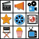 Set of 9 cinema web and mobile icons. Vector. Set of 9 cinema vector web and mobile icons in flat design Stock Photos