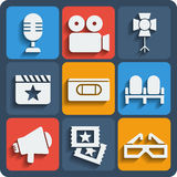 Set of 9 cinema web and mobile icons. Vector. Set of 9 cinema vector web and mobile icons in flat design Royalty Free Stock Photo