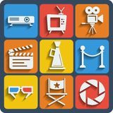 Set of 9 cinema web and mobile icons. Vector. Set of 9 cinema vector web and mobile icons in flat design Stock Photo