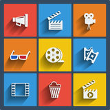 Set of 9 cinema web and mobile icons. Vector. Set of 9 cinema vector web and mobile icons in flat design. Symbols of loudspeaker, clapboard, camera, 3d glasses Royalty Free Stock Image