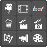 Set of 9 cinema web and mobile icons. Vector. Set of 9 cinema  web and mobile icons in flat design. Symbols of loudspeaker, clapboard, camera, 3d glasses, reel Royalty Free Stock Photo