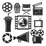 Set of 9 cinema web and mobile icons. Vector. Set of universal cinema and movies web and mobile logo icons isolated on white. Vector symbols of loudspeaker Royalty Free Stock Photo