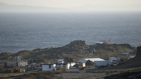 Set cinematografico di Star Wars alla baia di Breasty in Malin Head, Co Il Donegal, Ir Immagine Stock Libera da Diritti