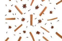 Set of cinnamon, clove and star anise, scattered in a chaotic manner, isolated on white background. Set of cinnamon, clove and star anise, isolated on white royalty free stock image