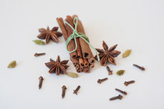 Set of cinnamon, clove and star anise on white background. Close up Royalty Free Stock Photos
