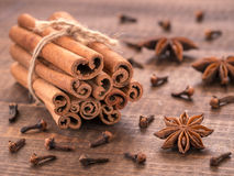 Set of cinnamon, clove and star anise Stock Photo