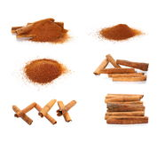 Set cinnamon sticks and powder isolated on white Stock Image