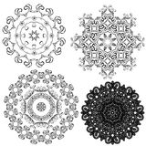 Set of circle backgrounds, Guilloche ornamental Elements Stock Image