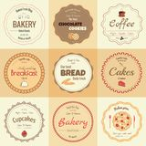 Set of 9 circle bakery labels Stock Photos