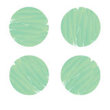 Set of circle banner in green brush paint style. Royalty Free Stock Images