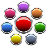 Set of circle button vector illustration