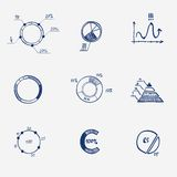 Set of circle chart diagram graph pie hand draw. Royalty Free Stock Photo