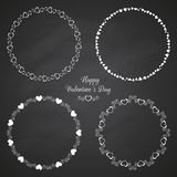 Set of circle cute frames for the St. Valentines Stock Image