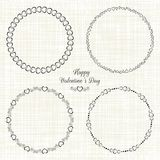 Set of circle cute frames for the St. Valentines Stock Photo