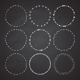 Set of 9 circle cute hand drawn frames Royalty Free Stock Images