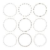 Set of 9 circle cute hand drawn frames Royalty Free Stock Image