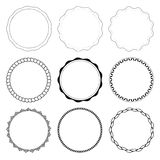 Set of 9 circle design frames Stock Photography