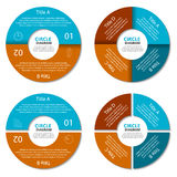 Set of circle diagram. Business concept with two and four options. Round infographic Stock Image