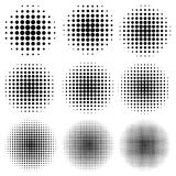 Set circle effect halftone dot pattern, vector to create a pop art design, comic rays style halftone. Set the circle effect halftone dot pattern, vector to royalty free illustration