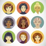 Set of Circle Female Icons Stock Photography