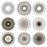 Set of Circle Geometric Ornaments. Rosettes Isolated. Ornamental Round Decor Stock Images