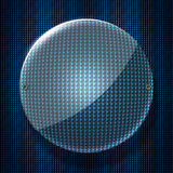 Set 8. circle glossy glass on blue metallic mesh wall. Stock Images