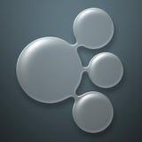 Set 8. circle glossy glass on gray metal walll. Royalty Free Stock Photo