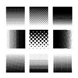 Set of circle halftone element, monochrome abstract graphic for DTP, prepress or generic concepts. Vector illustration. Isolated. On white background Stock Photography