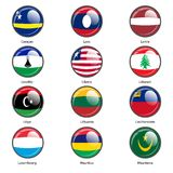 Set circle icon  Flags of world sovereign states Stock Photography