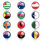 Set circle icon  Flags of world sovereign states Stock Photos