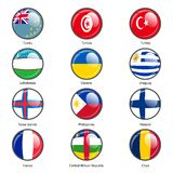 Set circle icon  Flags of world sovereign states Stock Images