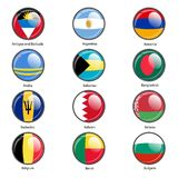 Set circle icon  Flags of world sovereign states Royalty Free Stock Image