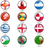 Set circle icon  Flags of world sovereign states Stock Photos
