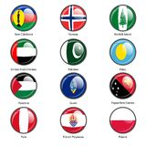 Set circle icon  Flags of world sovereign states Royalty Free Stock Photography