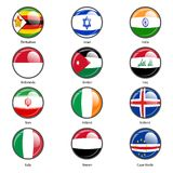 Set circle icon  Flags of world sovereign states Royalty Free Stock Photo