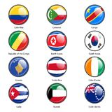 Set circle icon  Flags of world sovereign states Royalty Free Stock Images