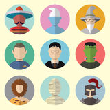 Set of Circle Icons Characters From Fairy Tales and Mythologies. Set - 08 Royalty Free Stock Images