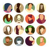 Set of circle icons with colorful avatar faces, fl Royalty Free Stock Photos