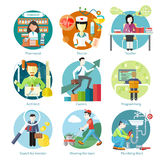 Set of Circle Icons with Different Professions Royalty Free Stock Photos