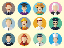 Set of Circle Icons with Man Different Professions.  Set - 04 Stock Image