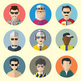 Set of Circle Icons with Man Sunglasses.  Set - 09 Stock Photos