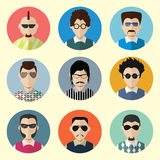 Set of Circle Icons with Man Sunglasses.  Set - 03 Royalty Free Stock Photos