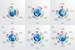 Set of circle infographic templates with globe. Business concept. Vector illustration Stock Photography