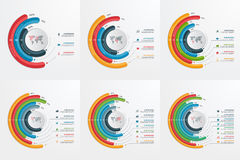 Set of circle infographic templates with 3-8 options. Royalty Free Stock Images