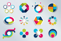 Set of circle infographics. Element connected to circle banner Stock Images