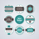 Set of 9 circle labels in retro style on white background. EPS10 vector template Stock Photos