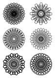 A set of circle lace patterns in white and black Royalty Free Stock Photo