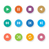 Set of 12 Circle Media Buttons. Stock Photography